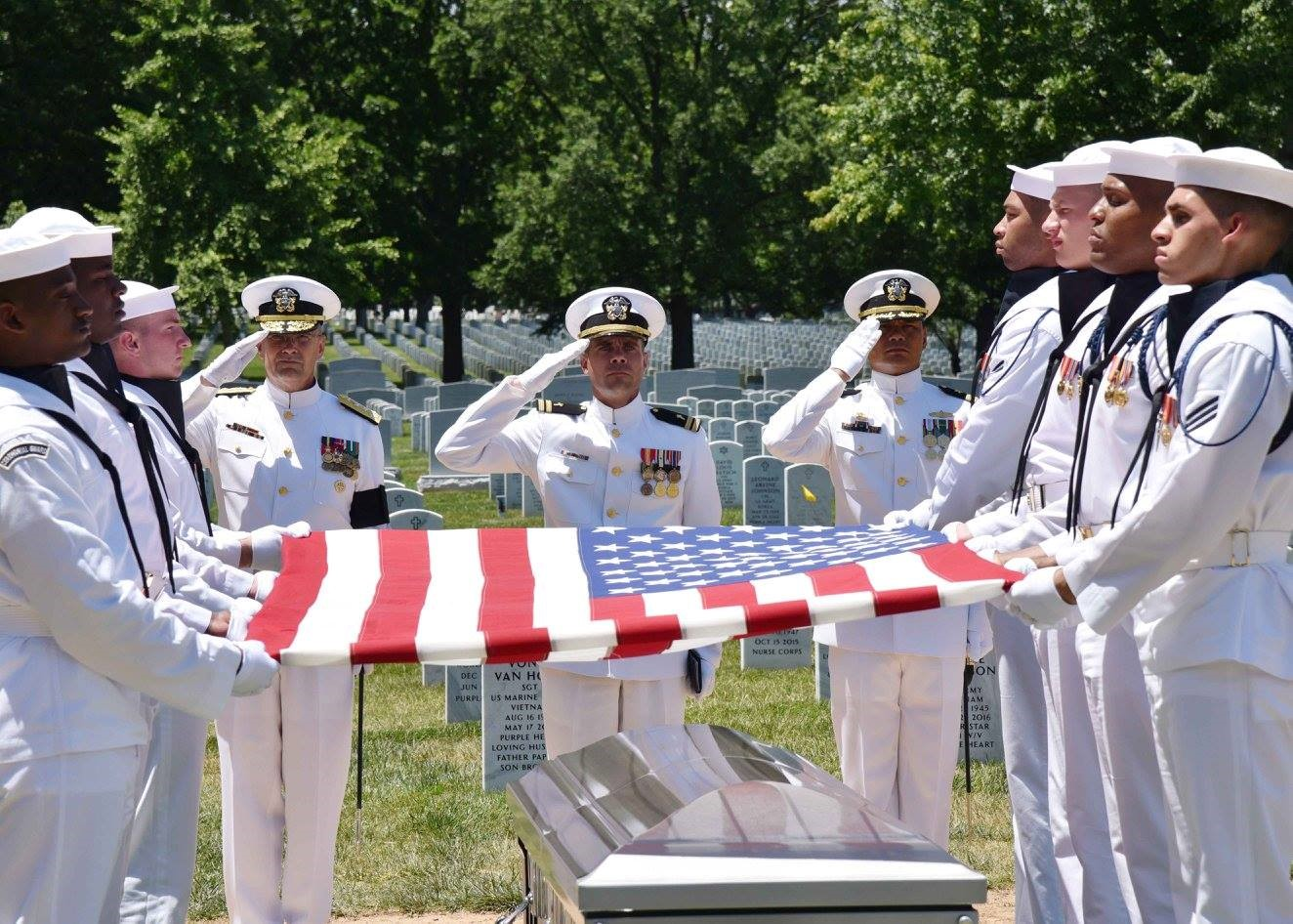 Funeral service for a sailor killed during the Battle of Tarawa (WWII) and accounted for in 2016 Official DPAA photo (2017)
