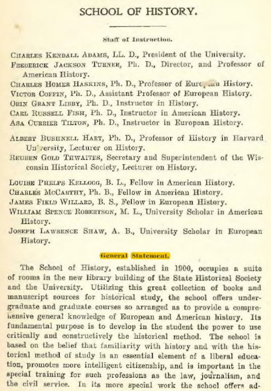 Snap of Catalogue of the University of Wisconsin for 1900-1901, 174.