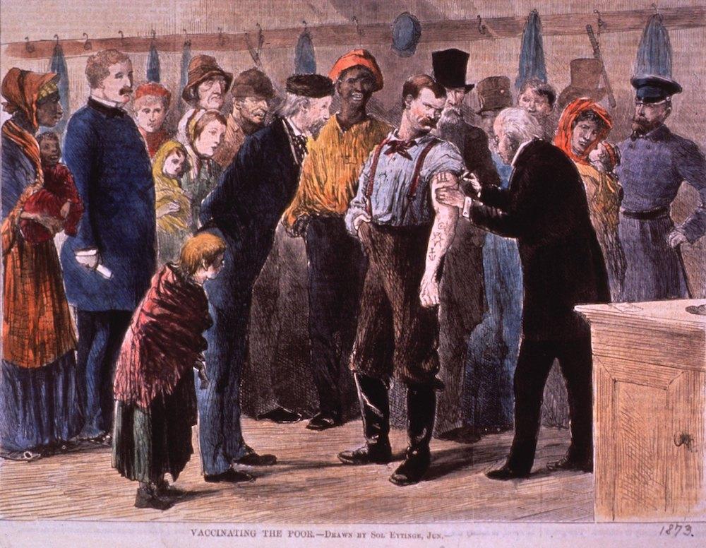 Vaccinating the Poor, print by Sol Eytinge, Jr., 1873.