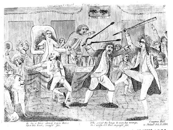 Congressional Pugilists, etching, 1798. Library of Congress. A crude portrayal of a fight on the floor of Congress between Representative Matthew Lyon of Vermont and Representative Roger Griswold of Connecticut. The row was originally prompted by an insulting reference to Lyon on Griswold's part. The interior of Congress Hall is shown; as are Speaker Jonathan Dayton and Clerk Jonathan W. Condy (both seated), Chaplain Ashbel Green (in profile on the left), and several others. Griswold, armed with a cane, kicks Lyon, who grasps the former's arm and raises a pair of fireplace tongs to strike him