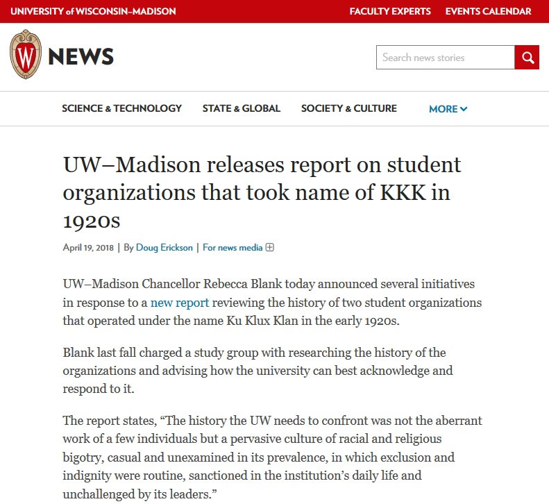 "Snip of report with title ""UW–Madison releases report on student organizations that took name of KKK in 1920s""."