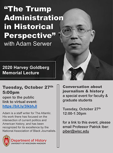 Event Poster: Harvey Goldberg Memorial Lecture 2020