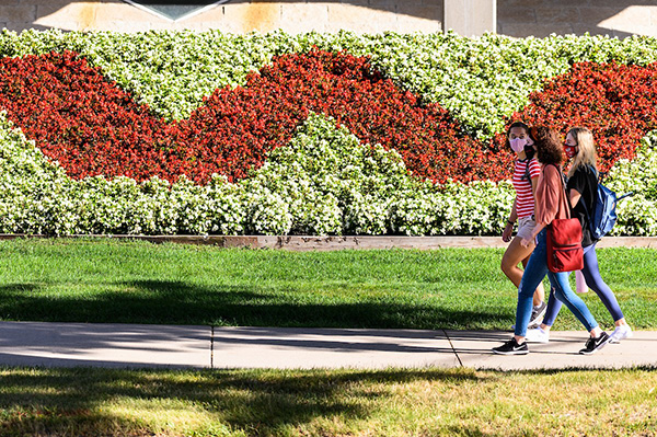 Students walking in front of Humanities Building