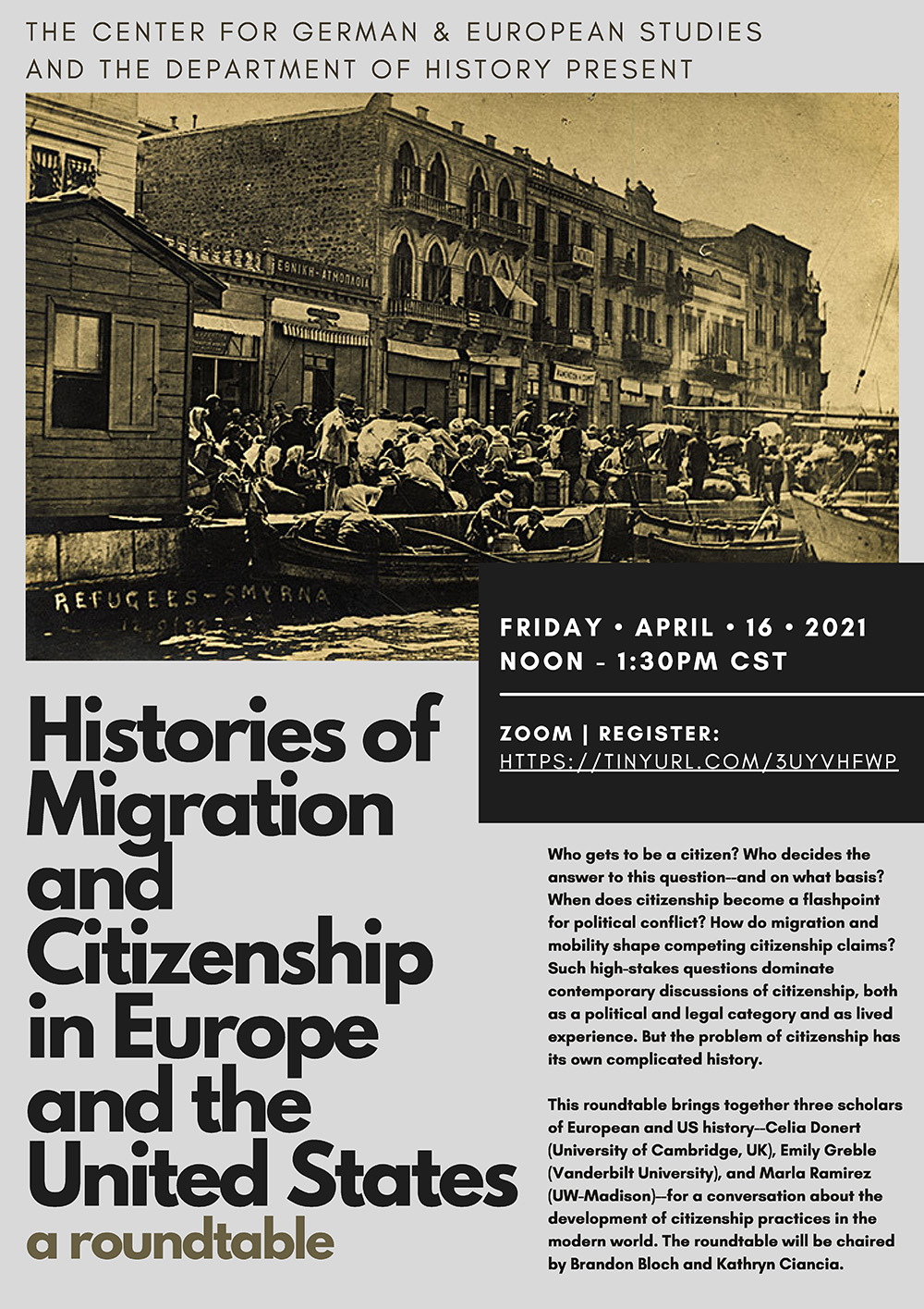 Event Poster: Migrations and Citizenship Roundtable